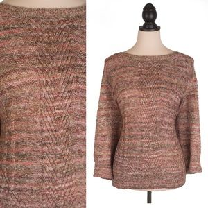 Dusty Rose Cable Knit 3X Oversized Sweater